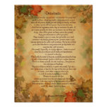 Desiderata prose on Fall colours background