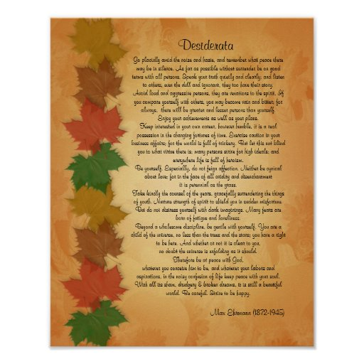 Desiderata prose on Fall leaves background Posters