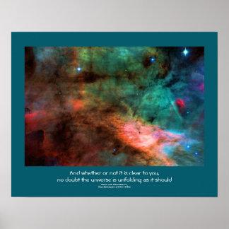Desiderata quote - Center of The Swan Nebula Posters