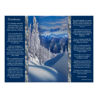 Desiderata Snow Top Mountains Posters