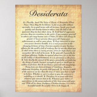 DESIDERATA sur le papier en bois fossilisé Poster