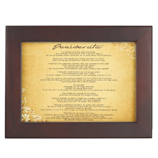 """Desiderata"" Vintage Floral Parchment Personalized Keepsake Box"