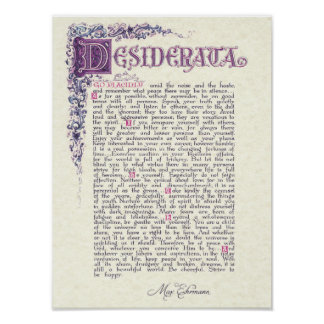 DESIDERATA with Florentine Colours Poster