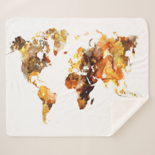 Personalized world map blankets throws zazzle ca design 102 world map sherpa blanket gumiabroncs Images