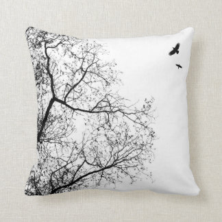 Design 24 Trees and Birds Crow Raven Throw Pillow