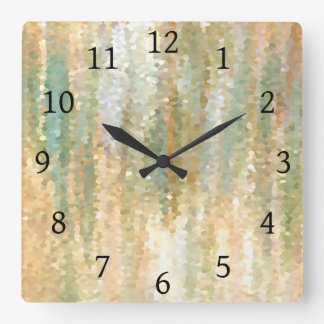 Design 30 Mosaic Green Orange Beige Wall Clocks