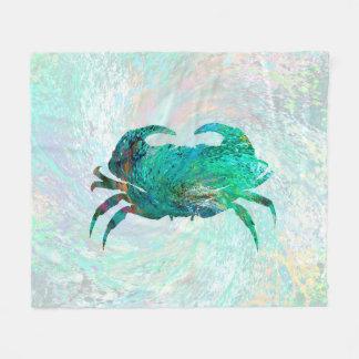 Design 41 Aqua Crab Fleece Blanket