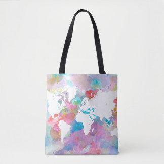 Design 48 world map pink blue tote bag