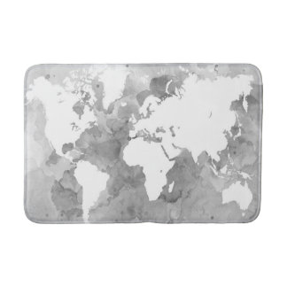 Design 49 grayscale world map bathroom mat