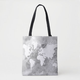 Design 49 grey world map tote bag