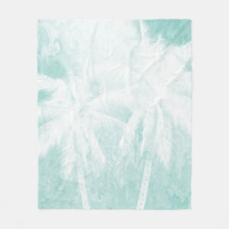 Design 54 teal blue Palm trees Fleece Blanket