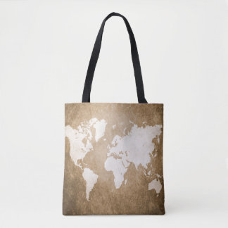 Design 56 brown sepia world map tote bag