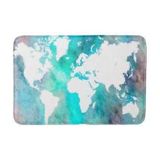 Design 62 World Map aqua turquoise Bath Mat