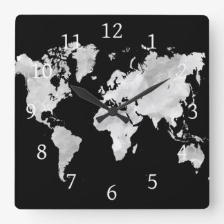 Design 70 world map square wall clock