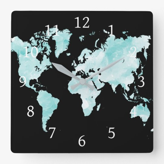Design 72 black aqua blue world map square wall clock