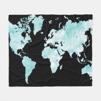 Design 72 black blue world map fleece blanket