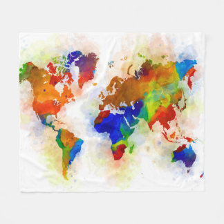 Design 77 multicolor world map fleece blanket