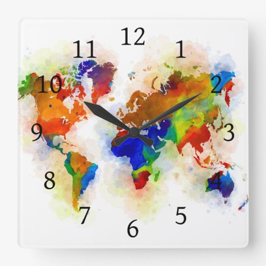Design 77 multicolor world map square wall clock