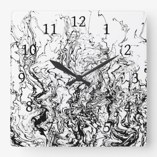 Design 80 black white abstract square wall clock