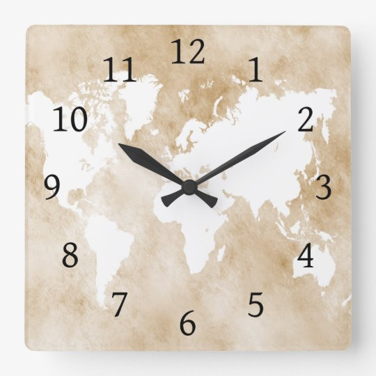 Design 82 tan world map square wall clock