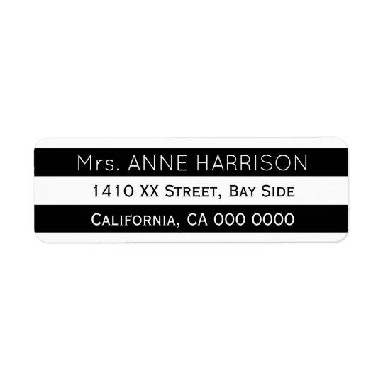 design a black & white striped return address label