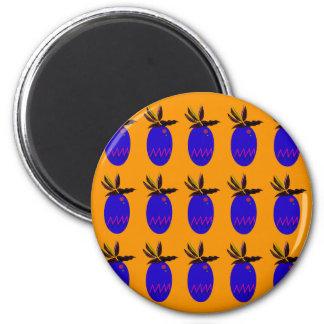 Design ananases gold blue magnet