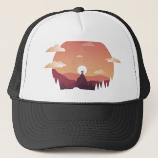 Design art hill hut landscape trucker hat