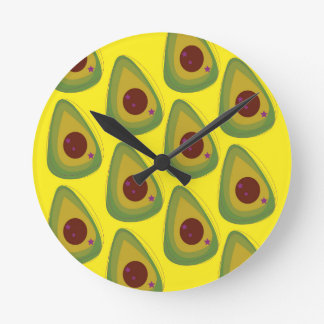 Design avocados gold pieces round clock