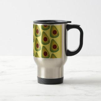 Design avocados on gold travel mug
