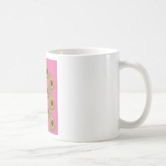 Design avocados on pink coffee mug