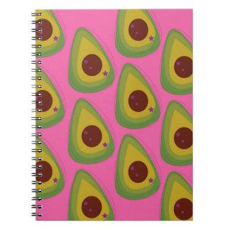 Design avocados on pink notebook