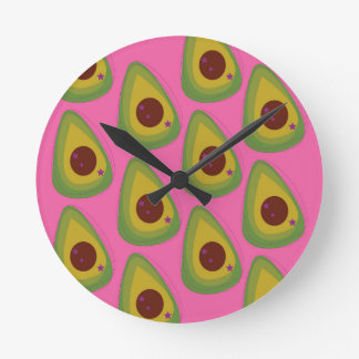 Design avocados on pink round clock