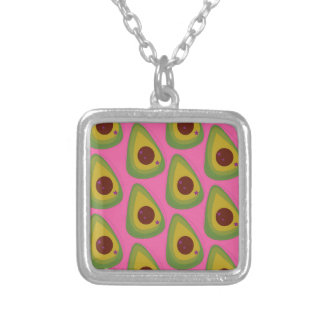 Design avocados on pink silver plated necklace