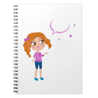 Design block with teen girl notebook