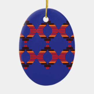 Design blocks blue Ethnic Ceramic Ornament