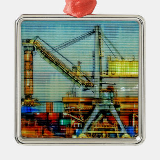 Design crane Silver-Colored square ornament