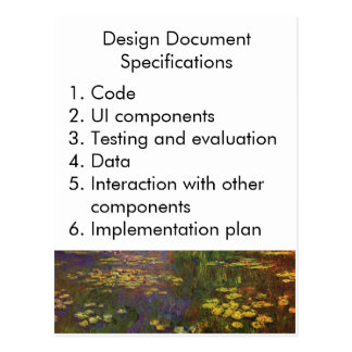 Design Document Specifications Postcard