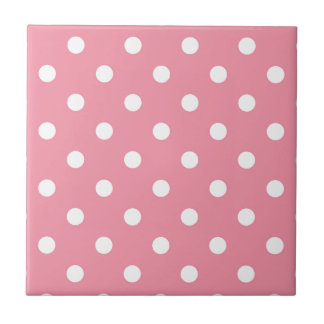 Design dots white on pink sweet tile