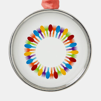 Design element using spoons and forks metal ornament
