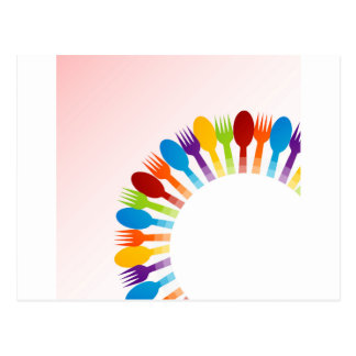 Design element with colorful spoons and forks postcard