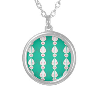 Design elements cyan Ethno with white Silver Plated Necklace