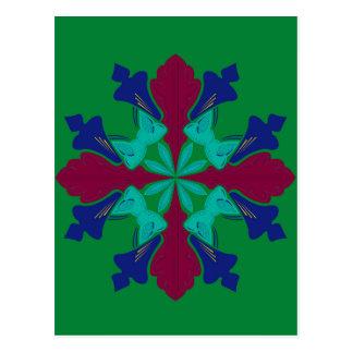 Design elements ethno Mandala green Postcard