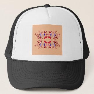 Design elements on beige trucker hat