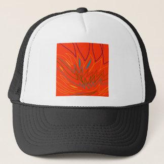Design elements on white trucker hat