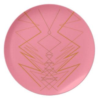 Design elements pink gold zig zag plate