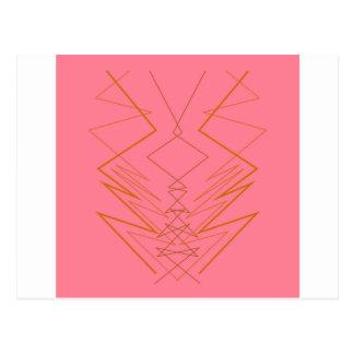 Design elements pink gold zig zag postcard
