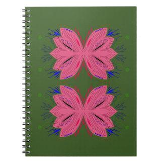 Design elements pink green notebooks