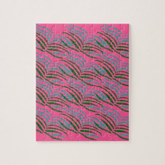 Design elements pink leaves exotic jigsaw puzzle