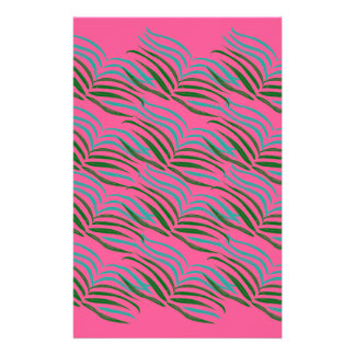 Design elements pink leaves exotic stationery