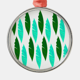 Design elements with Green leaves Metal Ornament